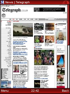 Opera Mini Dimension screenshot - desktop-view and mouse cursor with zoomable tiles