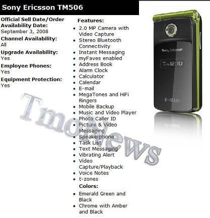 Sony Ericsson TM506 Bella for T-mobile