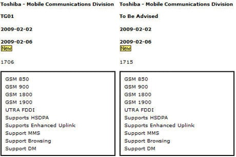 Two Toshiba phones compared