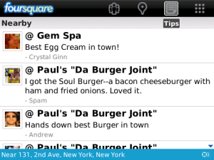 Foursquare Updated to Version 1.7 for BlackBerry