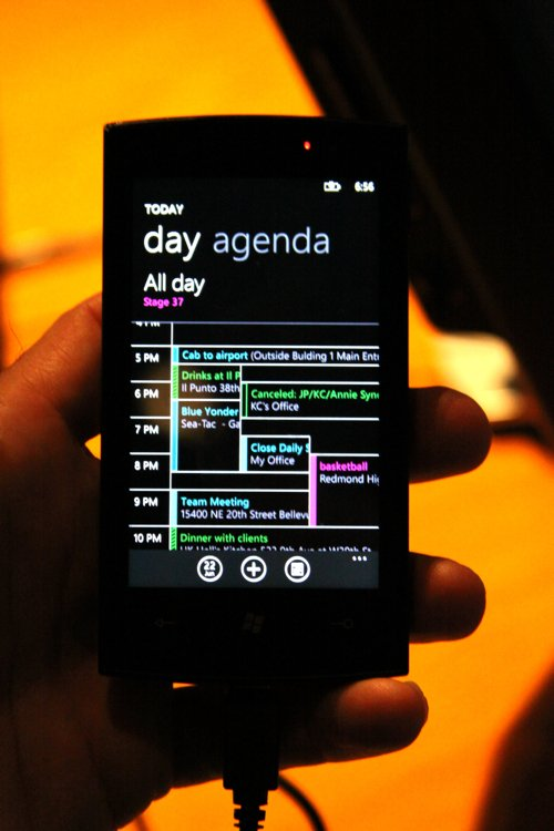 Image showing screenshot of Windows Phone 7 calendar app