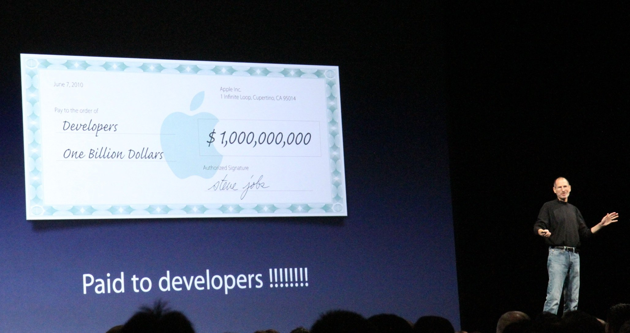 Image showing Steve Jobs at WWDC 2010 keynote talking about AppStore payouts to iPhone developers