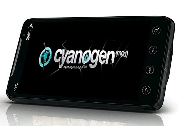 Image of Sprint HTC EVO 4G with CyanogenMod 6 splash screen