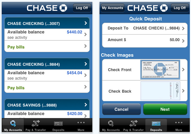 Chase Iphone App Lets You Deposit Checks By Taking Pictures