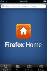 Screenshot of Firefox Home iPhone app homescreen