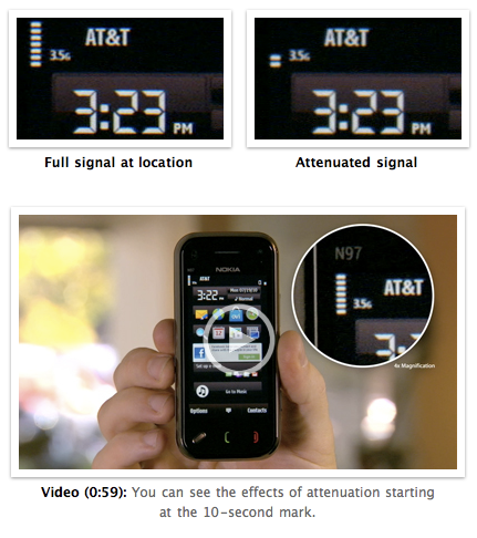 Apple's proof that Nokia N97 mini has antenna attenuation problems