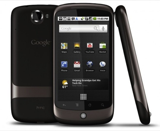 Image of the Google Nexus One, made by HTC, all sides visible