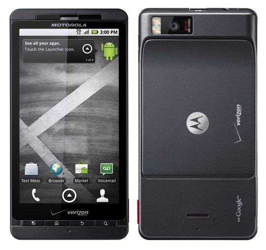 Verizon Motorola Droid X smartphone front and back views