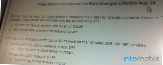 Virgin Mobile prepaid broadband changes