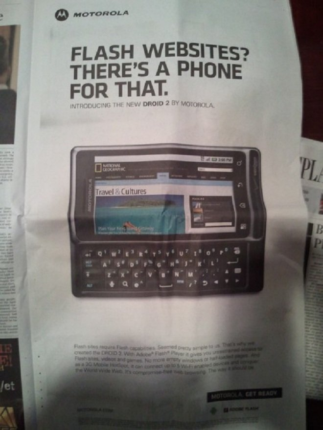Motorola ad goes at iOS for not supporting Flash
