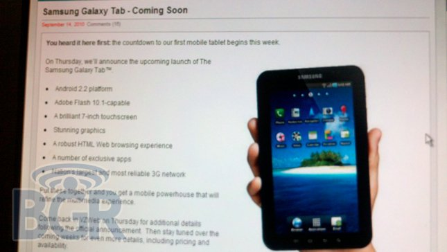 document showing Verizon will indeed be receiving the Samsung Galaxy Tab Android tablet