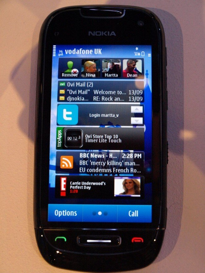 Picture of the Nokia C7 Symbian^3 smartphone from Nokia World 2010 London.