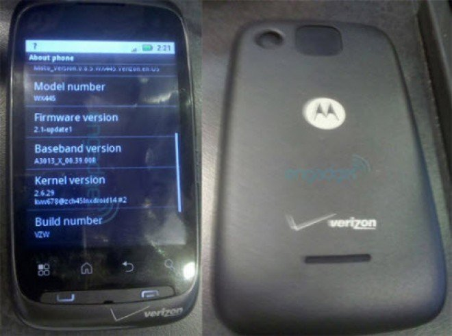 leaked Motorola Ciena budget Android phone for Verizon