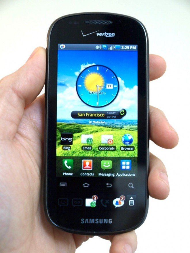 Images of the Samsung Continuum Android phone for Verizon with the ticker screen and TouchWiz UI.