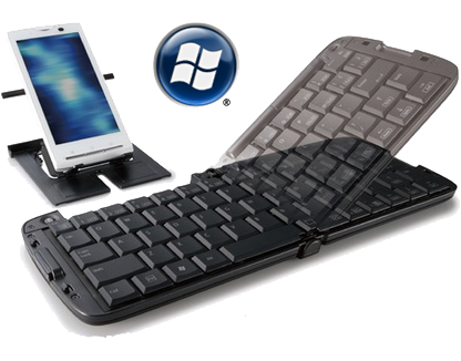 Foldable Bluetooth keyboard with phone