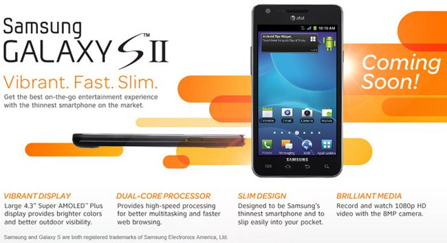 AT&T's Samsung Galaxy S II sign-up page is now live!