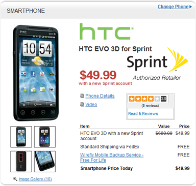 Deal Alert: HTC Evo 3D available for $50 from Wirefly
