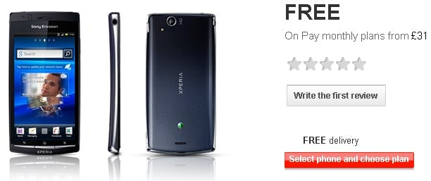 Sony Ericsson Xperia Arc S available from Vodafone for free on 31 GBP/month plan