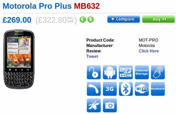 UK: Motorola Pro+ finally available for 322.80 GBP