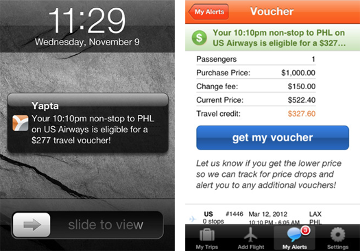Yapta's iPhone app lets you track airfare prices, refund alerts