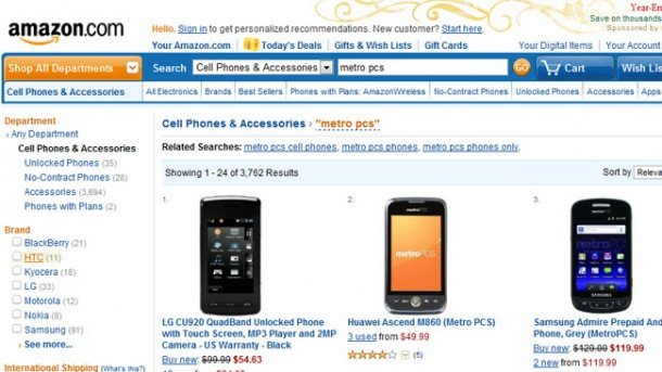 Amazon.com now offers MetroPCS phones