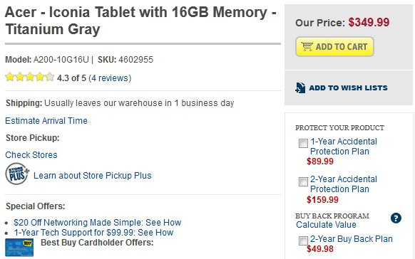 Best Buy now offers 16GB Acer Iconia Tab A200 for $349.99