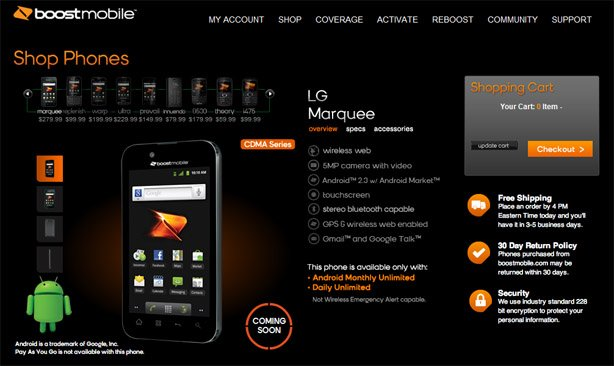 LG Marquee will be available from Boost Mobile on January 23 for $279.99