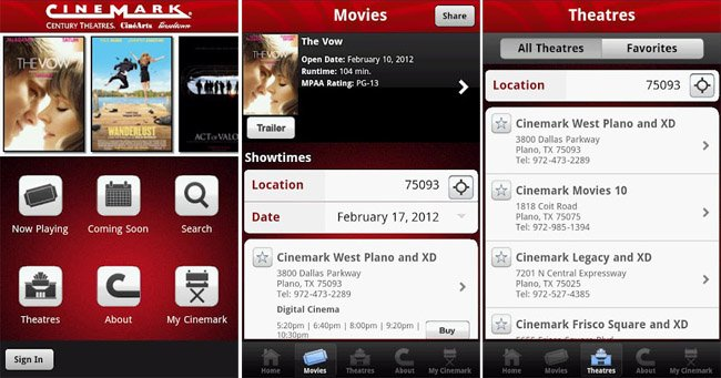 Cinemark launches Android app