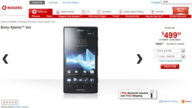 Canada: Sony Xperia ion now available from Rogers Wireless