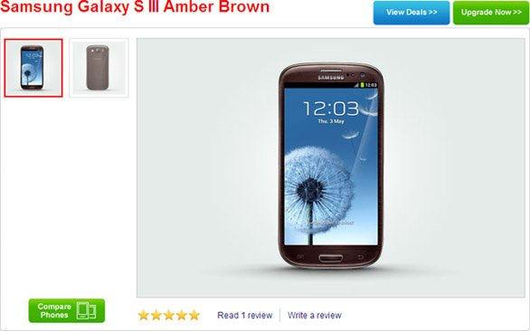 UK: Samsung Galaxy S III in Amber Brown now available on contracts from 26 GBP per month