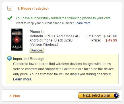 Hot Deal: Motorola DROID RAZR MAXX 4G now just 50 bucks at Amazon Wireless