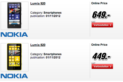 Nokia Lumia 820, 920 hitting Germany on November 1st