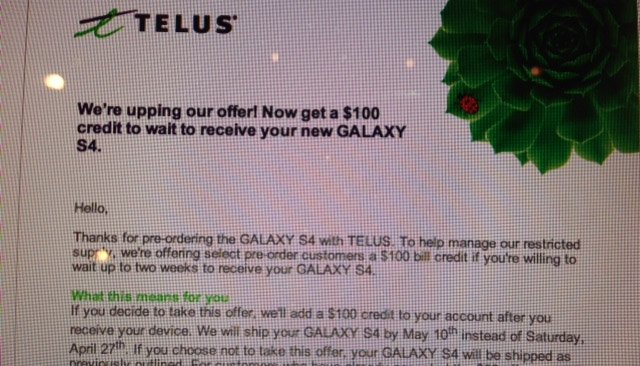 TELUS now offering $100 credit to customers who accept to delay Galaxy S4 shipping