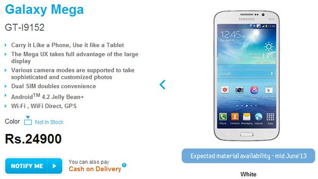 Samsung Galaxy Mega 5.8 Duos, Mega 6.3 priced in India