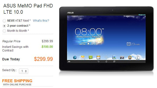 ASUS MeMO Pad FHD LTE 10.0 lands at AT&T: $300 on-contract, $400 outright