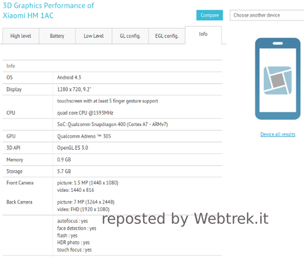 Xiaomi tablet with 9.2-inch 720p screen and Snapdragon 400 caught at GFXbench
