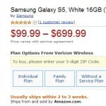 Verizon's Samsung Galaxy S5 now just $99.99 on Amazon!