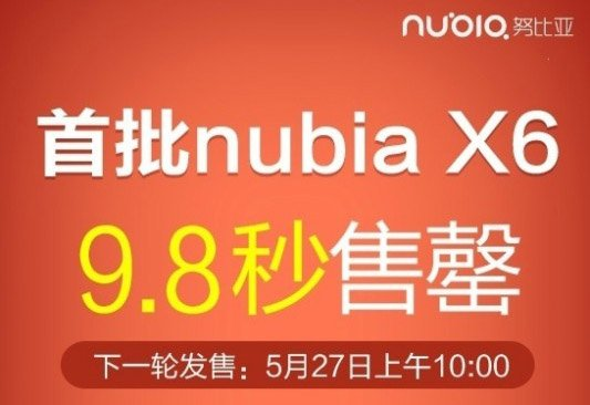 ZTE Nubia X6 sells out in 9.8 seconds in China